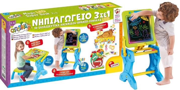 LISCIANI ΝΗΠΙΑΓΩΓΕΙΟ 3 ΣΕ 1 10 ΕΚΠΑΙΔΕΥΤΙΚΑ ΠΑΙΧΝΙΔΙΑ-ΘΡΑΝΙΟ-ΠΙΝΑΚΑΣ LED 72415 Real Fun Toys CAROTINA Cyprus - toys cyprus - toyshop cyprus - skroutz cyprus