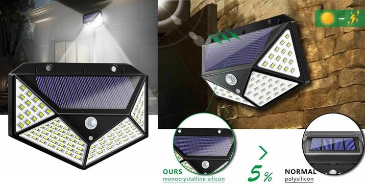 Ηλιακό Επιτοίχιο Φωτιστικό με Ανιχνευτή Κίνησης 100 LED - 55467 - 100 LED Solar Lights Outdoor Lighting Wireless Motion Sensor Lights - skroutz.com.cy