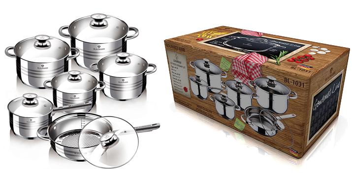 Σετ Μαγειρικών Σκευών Blaumann 12 τμχ BL-1031 - BLAUMANN 12-PIECE STAINLESS STEEL COOKWARE SET GOURMET LINE - kitchenware cyprus - skroutz cyprus - Blaumann Jumbo Κατσαρόλες σετ 12 τεμάχια BL-1031 - κατσαρολες κυπρος