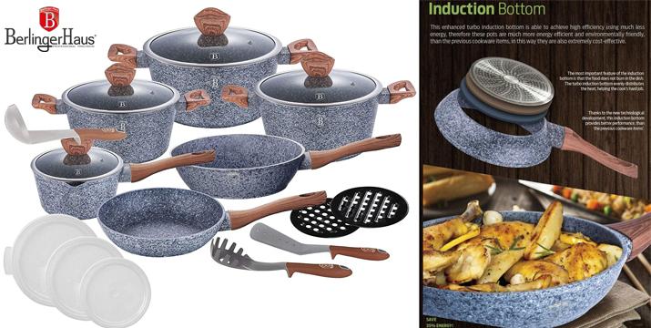 berlinger haus 18pcs cookware set forestline non-stick coating bh-6198 - cookware cyprus - berlinger cyprus